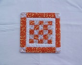 Quilted Scrappy Coaster, Mug Rug or Table Mat in Orange, White and Tan