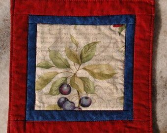Summer Berries Mug Rug Coaster or Mini Quilt #4 Blueberry Plum