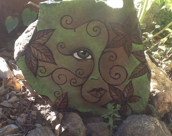 NATURE FACE garden decor hand painted flagstone rock with autumn leaves