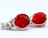 Love Knot Wire Wrapped Earrings Red Glass