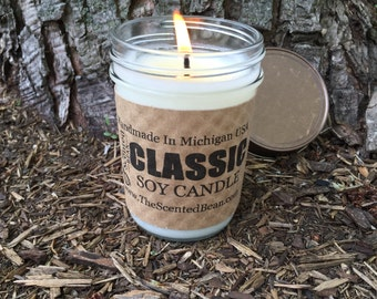 Balsam & Cedar    - 8 oz. Scented Soy Candle - Classic Jelly Jar Soy Candle, Cedar, Gift Idea, Candles, soy candles