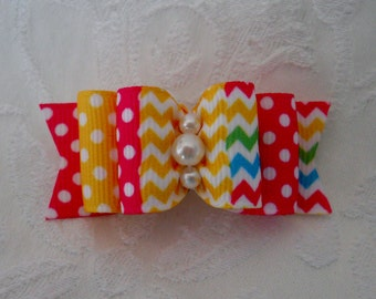 "7/8"" Easter Patchwork Double Loop Dog Bow"