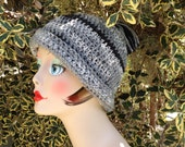 Handmade Crochet Slouchy Hat with Pom Pom