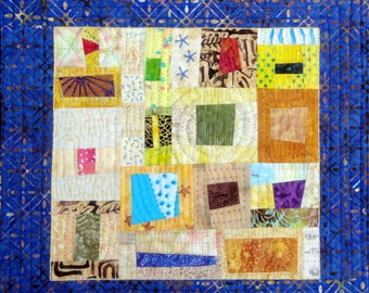 Blue & Yellow Fiber Art | Quilted Wall Hanging