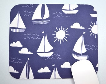 Buy 2 FREE SHIPPING Special!!   Mouse Pad, Computer Mouse Pad, Fabric Mousepad         Sail Boats on Navy