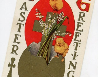Vintage Easter vintage postcard, Easter Greetings, Easter chick, lilies of the valley, gold cross, Easter egg