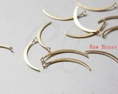 12pcs of  Raw Brass Hand Soldered Crescent - Charm - Moon - 31x2mm (3210C-N-260)