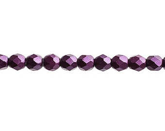 45 Pieces Czech Fire Polish Glass Faceted Round-Pearl Pastels Purple 4mm (FP9900009)