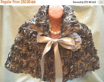 30% OFF - June Sale CAPELET Cover Up Romantic 3D Fabric Shawl Old Hollywood Glam Girl - Handmade - Gray