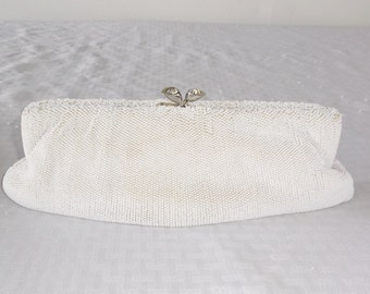 50s 60s Vintage White Micro Beaded Evening Clutch Purse