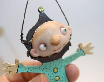 ooak scared little ELF ornament (# 1 ) pixie elf fairy polymer clay art doll by DinkyDarlings
