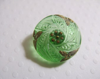 18.5mm Bohemian Czech Glass Button, Leaves spiraling, Tranluscent Green with gold trim