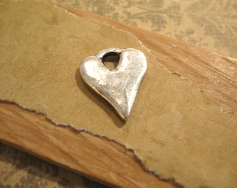 Rustic Hammered Heart Charm with Antique Silver Plating from Nunn Design