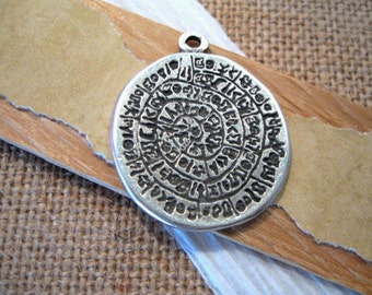 Disk of Phaistos Pendant in Pewter from Mykonos