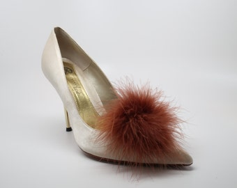 Detachable Feather Puff Pom Pom Shoe Clips  Set of Two Brown