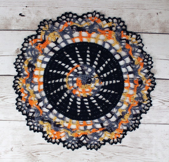 Crocheted Black Grey Gold Orange Halloween Variegated Doily Table Topper - 13""