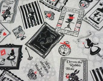 PRECUT Fabric Japanese cotton linen Fairy tales print Alice In Wonderland Half meter Made in Japan (n421)