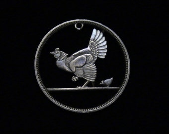 Ireland - cut coin pendant - Hen and Chick - 1946