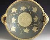 Handmade Stoneware Pottery Basket Bowl Blue Maple Leaf Bowl