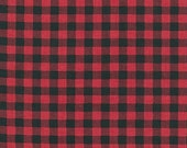 One (1) Yard - Burly Beavers plaid print quilter's cotton Robert Kaufman Fabric AHE-15995-3 Red