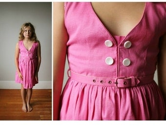ON SALE 1950s Belted Watermelon Dress~Size 7/8/10