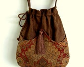 Brown and Rust Medallion Bag Tapestry Bag   Brown Bag With Tassel  Renaissance Bag