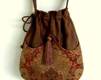 Brown and Rust Medallion Bag Tapestry Bag   Brown Bag With Tassel  Renaissance Bag