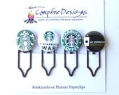 STARBUCKS Bookmark Clips or Starbucks Planner Paperclips-set of 4