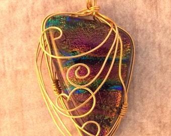 Dichroic Glass Wire Wrapped Pendant 'Aurora Borealis'