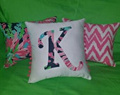 New Initial pillow Made AUTHENTIC LILLY PULITZER Sippin and Trippin Fabric
