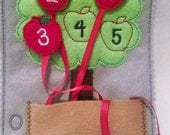 SALE Felt counting apple tree quiet book page children practice counting numbers to five