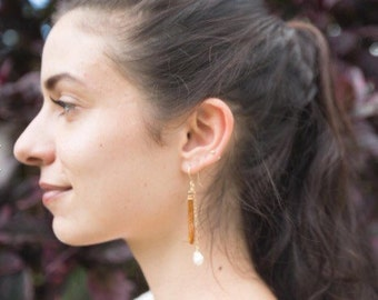 Golden Coral and White Pearl Earring