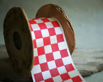 Vintage Checkered Ribbon 2.75 Inches Wide Red and White Lion Brand Waterproof