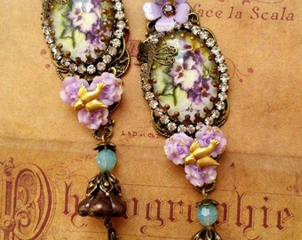 Shabby violets romantic retro earrings