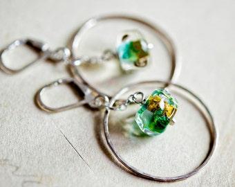 Lampwork Earrings, Hoop Earrings, Glass Earrings, Lampwork Glass, Sterling Silver, Lever Back Ear Wire, Lime Green, Gold Foil, PoleStar