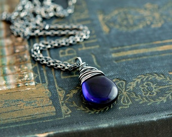 Glass Necklace, Wire Wrapped, Glass Pendant, Czech Glass, Cobalt Blue, Navy Blue, Midnight Blue, Dark Blue, Sterling Silver, PoleStar