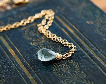 Moss Aquamarine Necklace, Moss Aquamarine, March Birthstone, Gold Necklace, Gold Jewelry, Wire Wrapped, Gemstone Pendant, Gold Filled