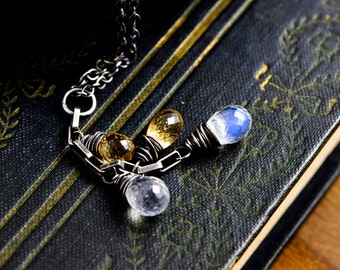 Starlight Necklace, Pendant Necklace, Wire Wrapped, Rainbow Moonstone, Imperial Topaz, Gemstone Necklace, Sterling Silver, PoleStar