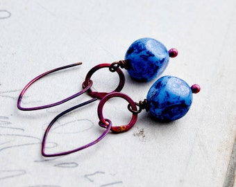 Dangle Earrings, Czech Glass Earrings, Glass Earrings, Cobalt Blue, Rosy Copper, Copper Jewelry, Blue, Glass Jewelry, PoleStar, Red