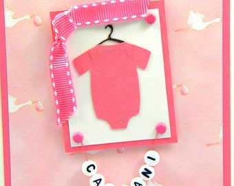 Personalized Baby Girl Onesie Card, Pink