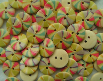 Wooden Buttons Red and yellow swirls 18mm x 5 wood round button
