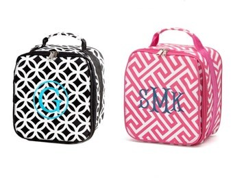 New LUNCH Tote COOLER!  Pink or black bag -  personalized, monogram! Back to School