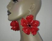 Uniquely Wacky Red and Black Flower Shape Plastic Large Earrings, Big Earrings, Womens Earrings, Handmade Earrings, Womens Jewelry