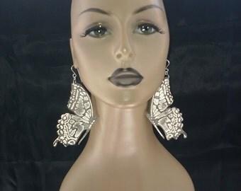 Attractive Black and White Fabric Butterfly Earrings, Large Earrings, Women's Earrings, Fashion Earrings, Big Earrings.