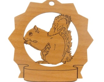 Squirrel Pesonalized Wood Ornament