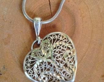 Sterling Silver Filigree Italian Heart Necklace