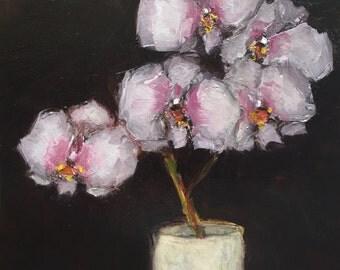 ORIGINAL Phaelonosis Orchid Still Life  Floral Flower 6 x 6 oil on panel Colette Davis