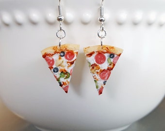 Pizza Earrings - Mini Food Jewelry - Polymer Clay