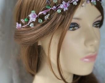 Bridal hair vine, lavender flower hair vine,flowers and crystal hair vine, Gyp hair vine, boho bridal hair vine,halo
