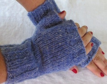 Hand Knit Adult Fingerless Mittens Maine Made